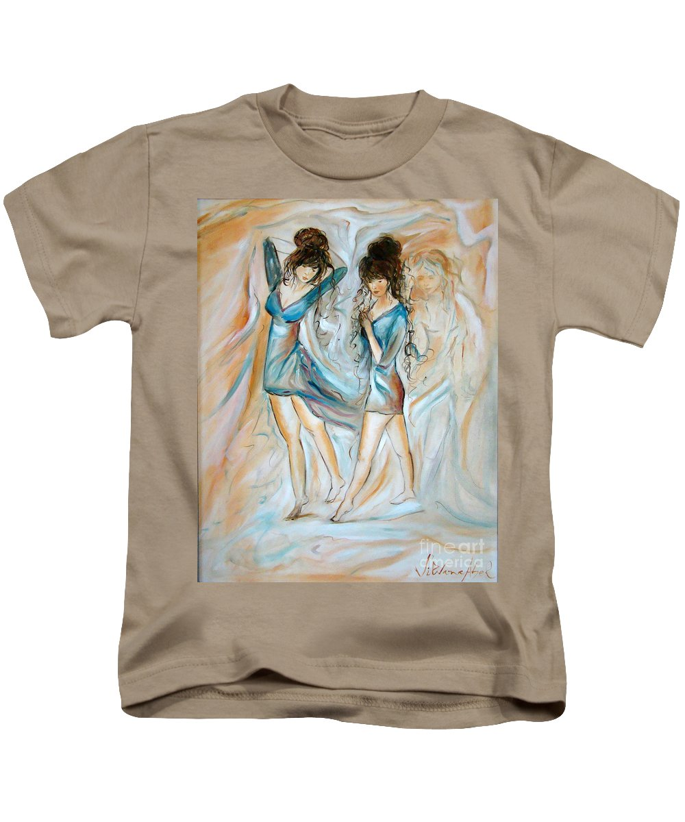 Contemporary Art Kids T-Shirt featuring the painting Wondering by Silvana Abel