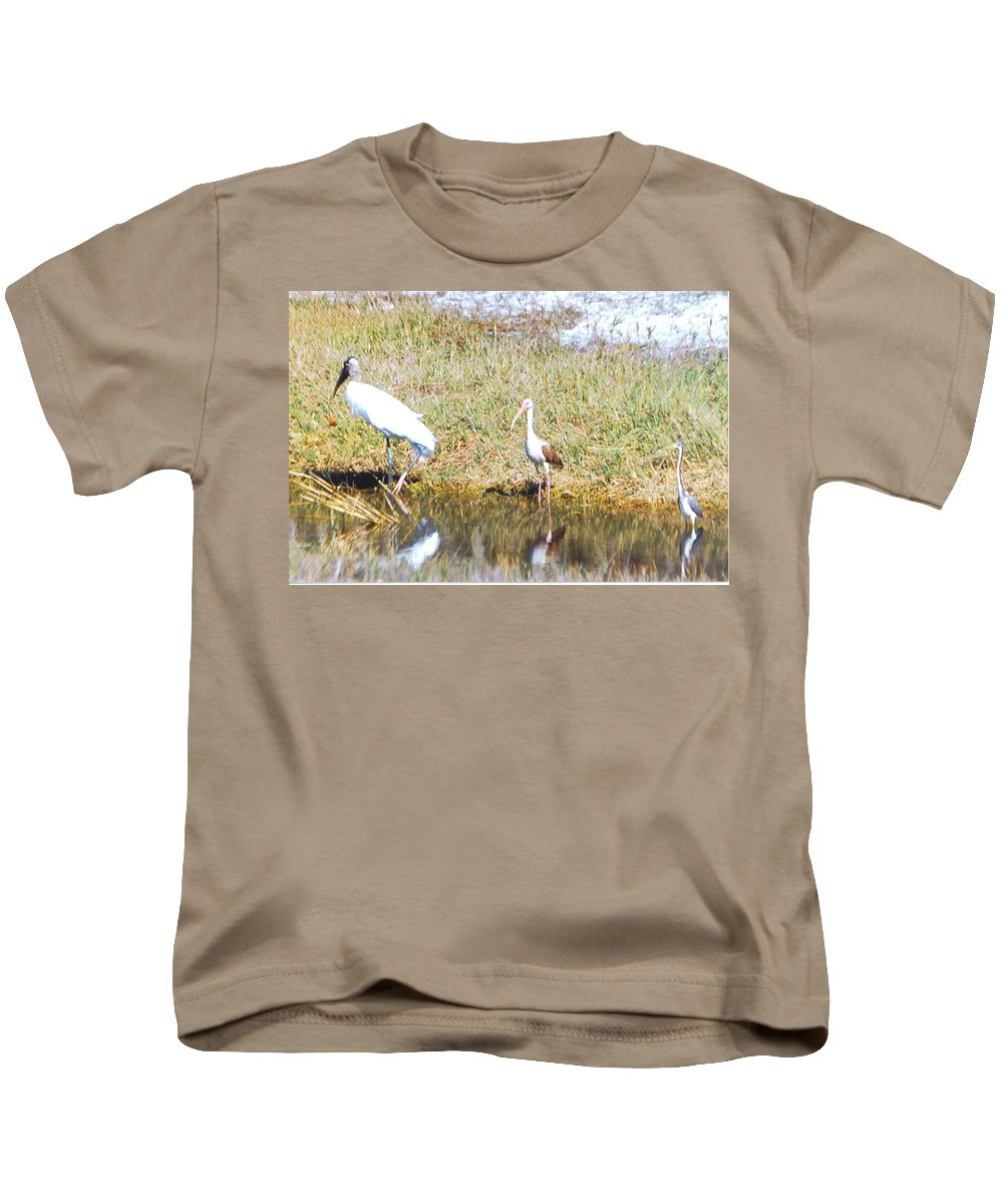 North Ft.myers Kids T-Shirt featuring the photograph Wood Stork And Ibis And Heron by Robert Floyd