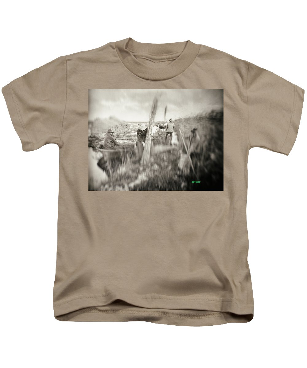 Working Hard Kids T-Shirt featuring the digital art Getting The Crops In by KJ DePace