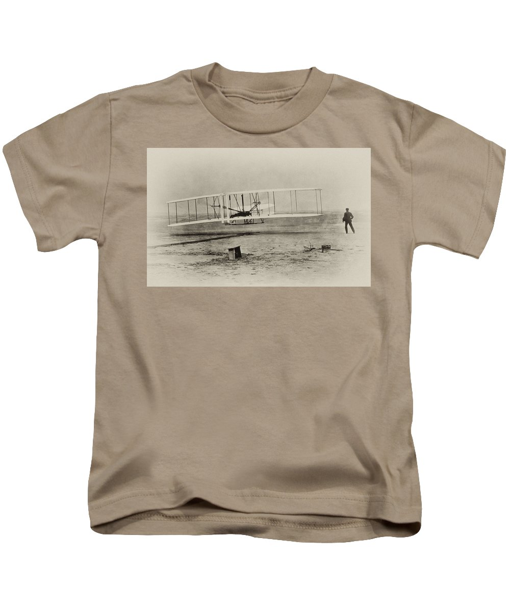 Wright Brothers - First In Flight Kids T-Shirt featuring the photograph Wright Brothers - First In Flight by Bill Cannon