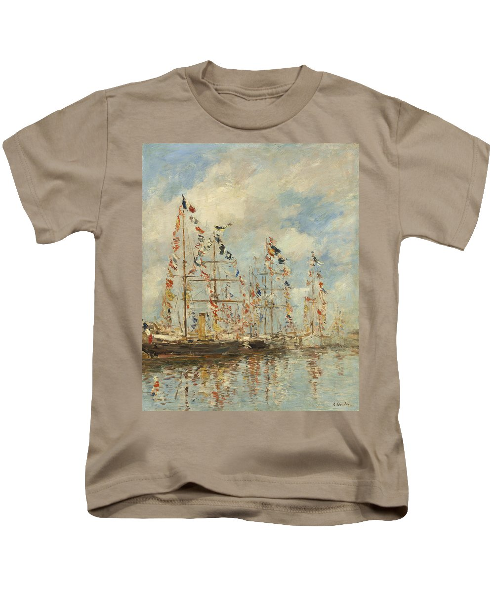 Eugene Boudin Kids T-Shirt featuring the painting Yacht Basin At Trouville Deauville by Eugene Boudin