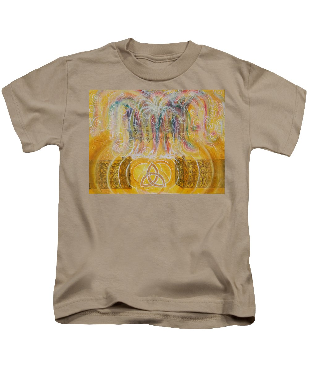 Fountain Kids T-Shirt featuring the painting Yaweh El Shaddai Top Canvas Detail by Anne Cameron Cutri