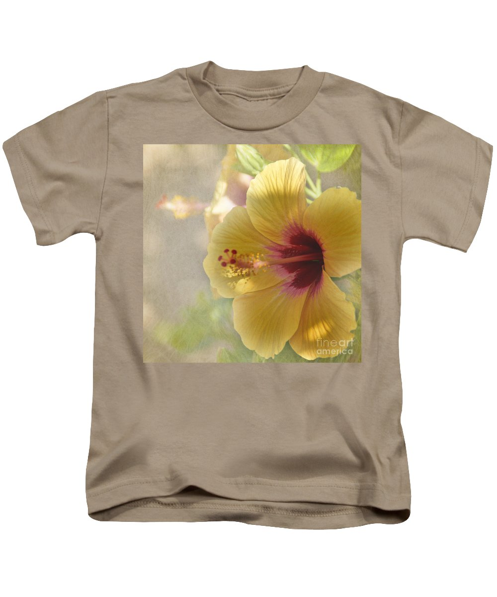 Flower Kids T-Shirt featuring the photograph Yellow Hibiscus by Peggy Hughes
