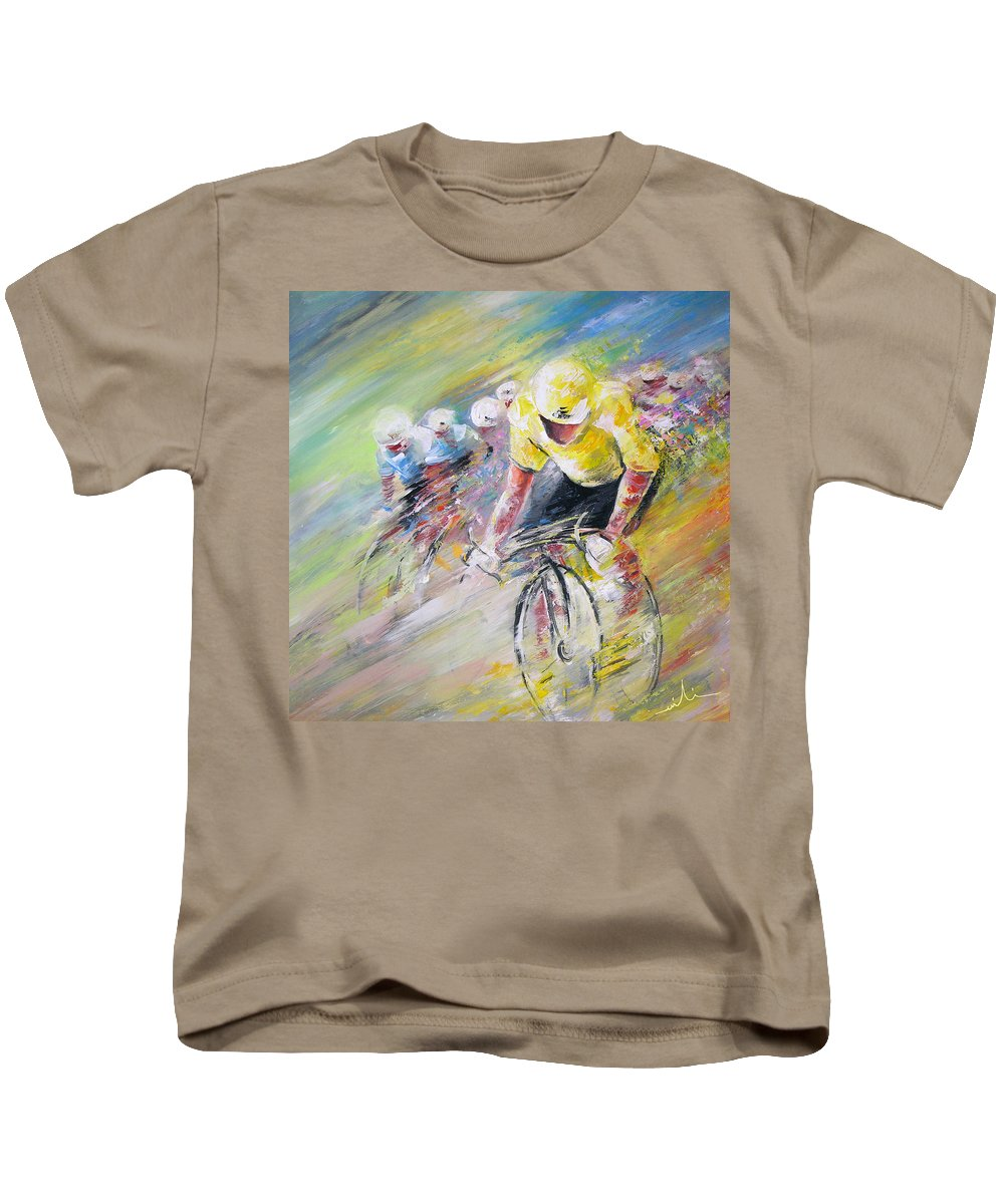 Sports Kids T-Shirt featuring the painting Yellow Triumph by Miki De Goodaboom