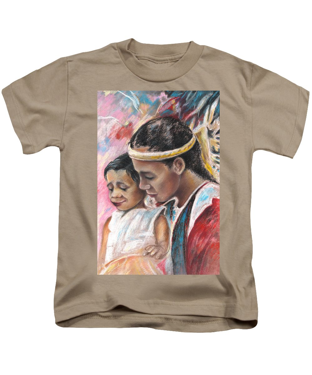 Travel Kids T-Shirt featuring the painting Young Polynesian Mama With Child by Miki De Goodaboom