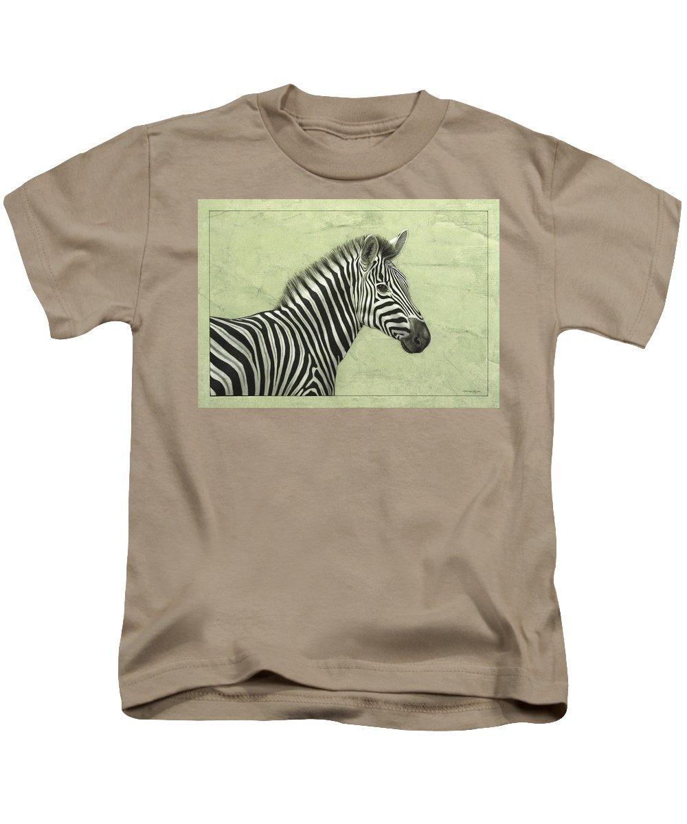 Zebra Kids T-Shirt featuring the painting Zebra by James W Johnson