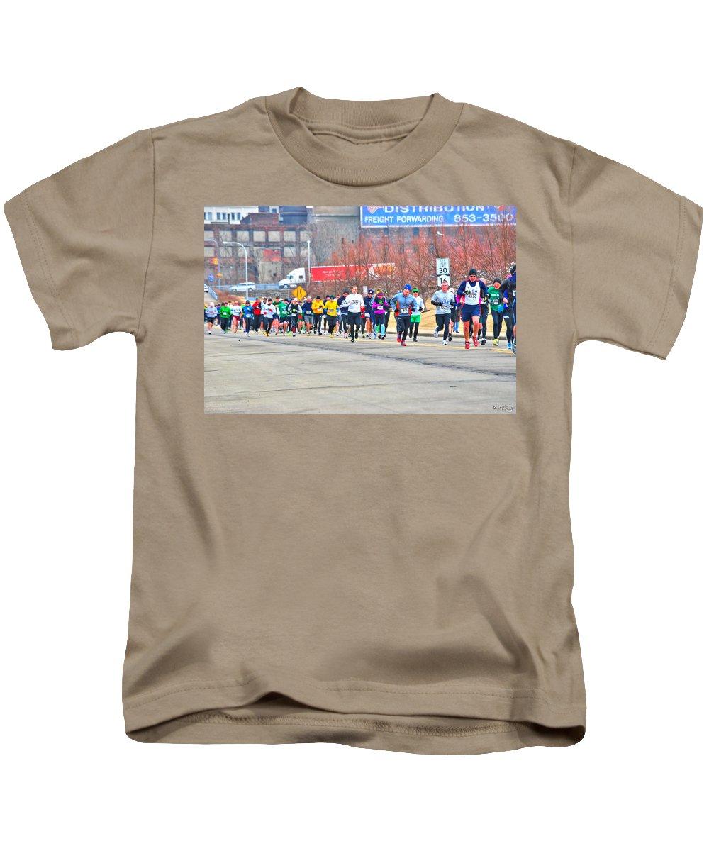 Kids T-Shirt featuring the photograph 018 Shamrock Run Series by Michael Frank Jr