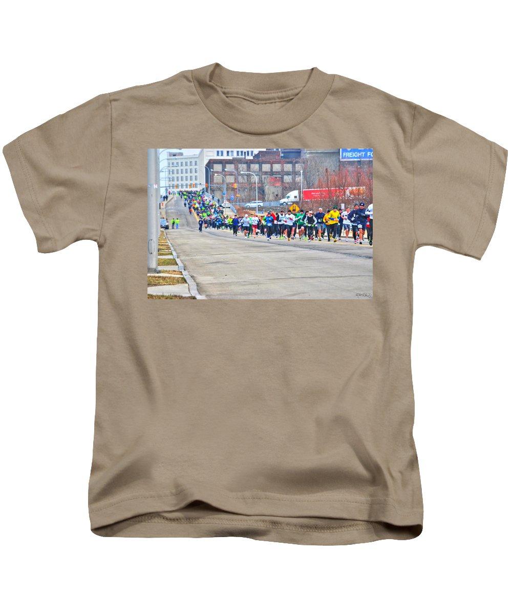 Kids T-Shirt featuring the photograph 019 Shamrock Run Series by Michael Frank Jr