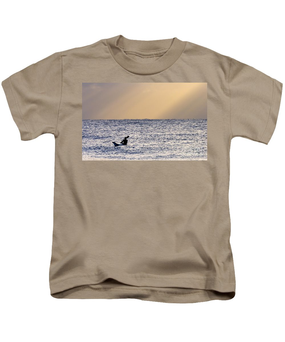 Rays Kids T-Shirt featuring the photograph Kayak At Dawn by Mike Dawson