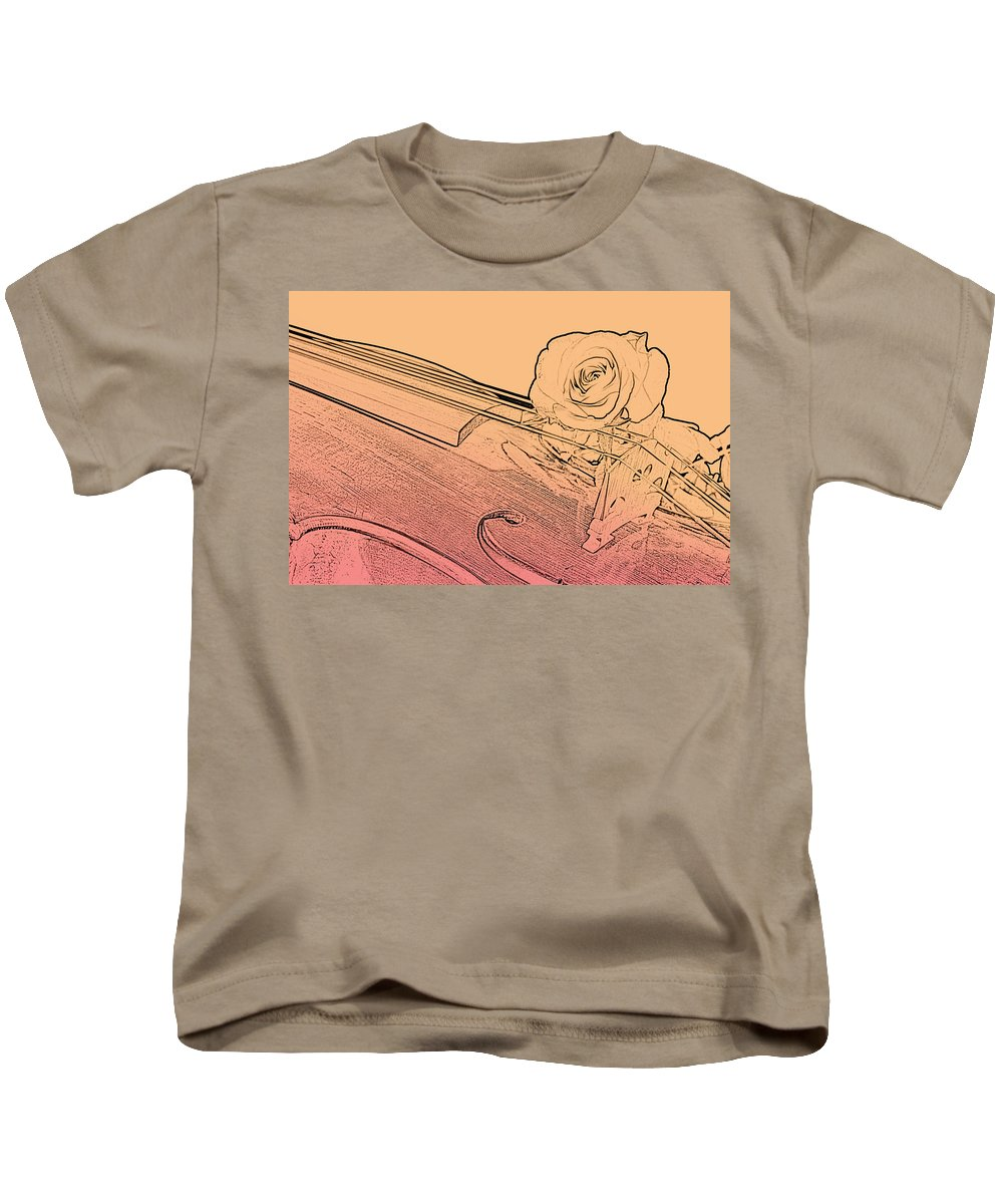 Violin Kids T-Shirt featuring the photograph Red Rose Violin Viola by M K Miller