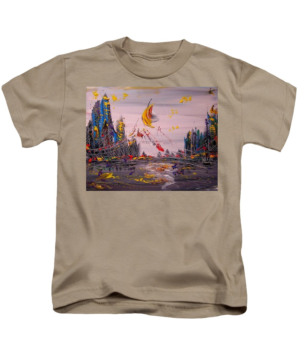 Kids T-Shirt featuring the painting NYC by Mark Kazav
