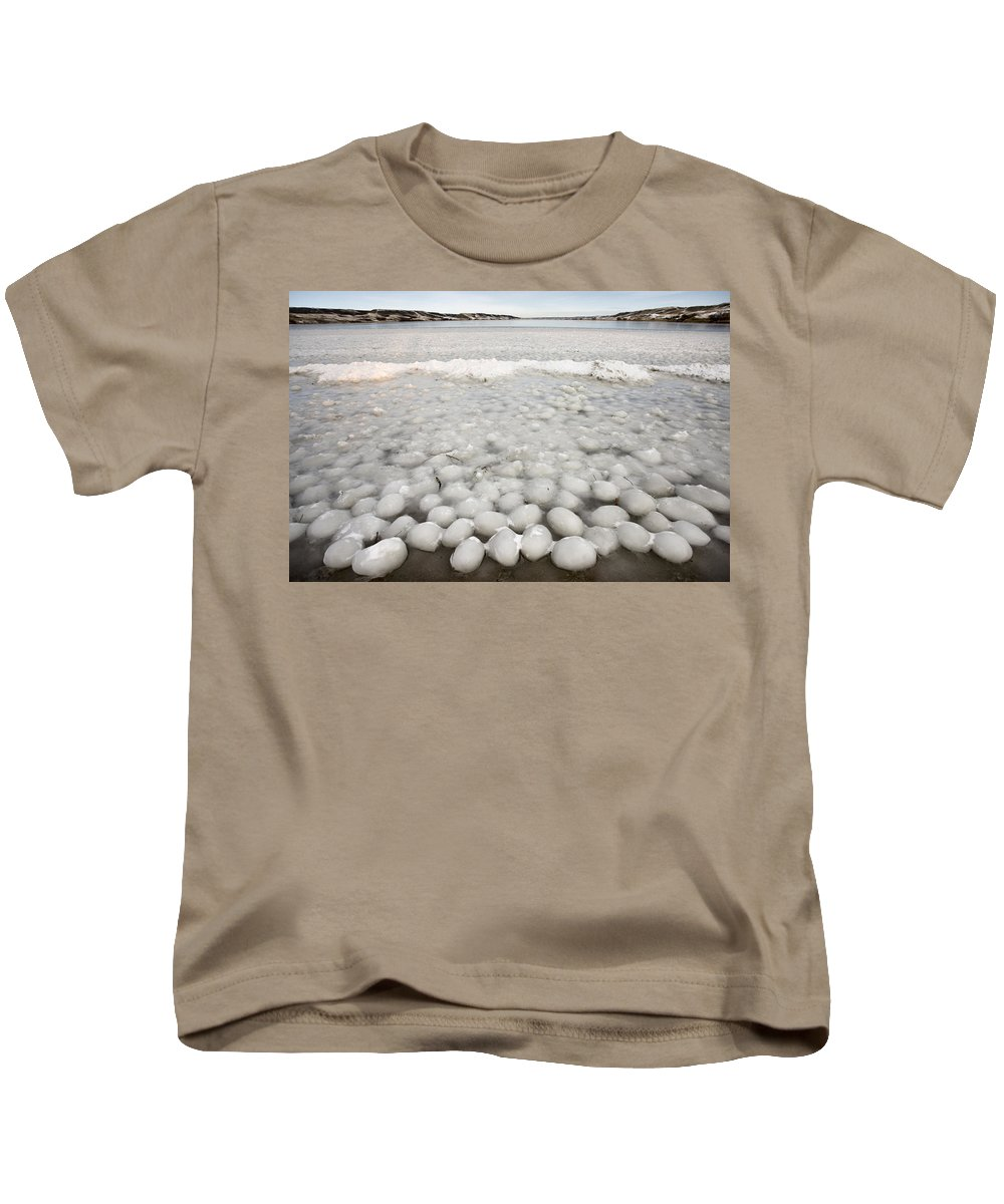 Ice Kids T-Shirt featuring the digital art Ice Forming On Lake by Mark Duffy