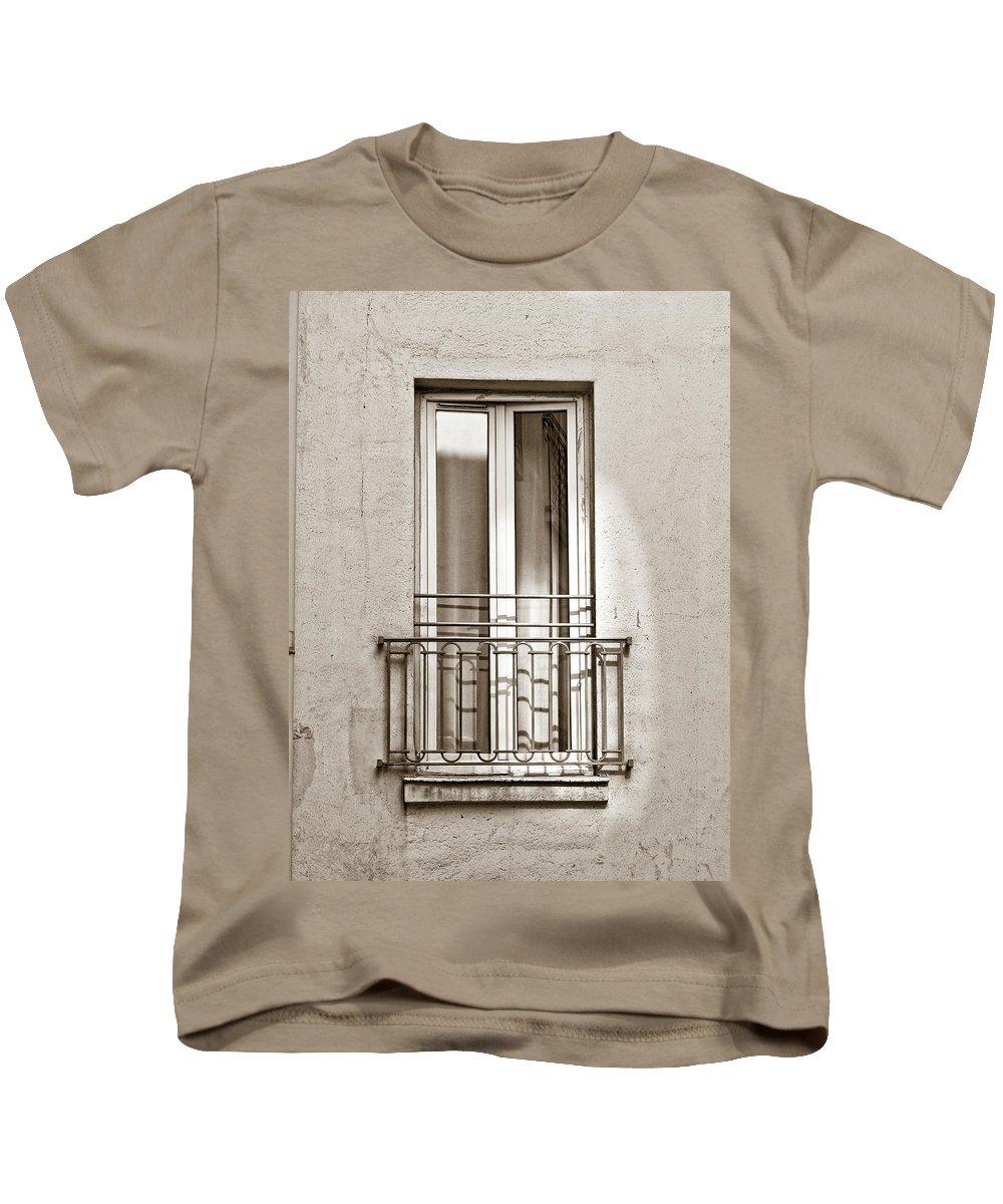 Paris Kids T-Shirt featuring the photograph A Window In Paris by Jim Pruett
