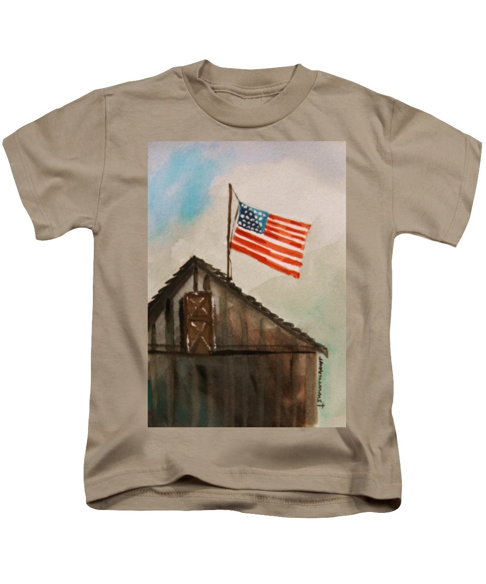 American Flag Kids T-Shirt featuring the painting Above All by John Williams