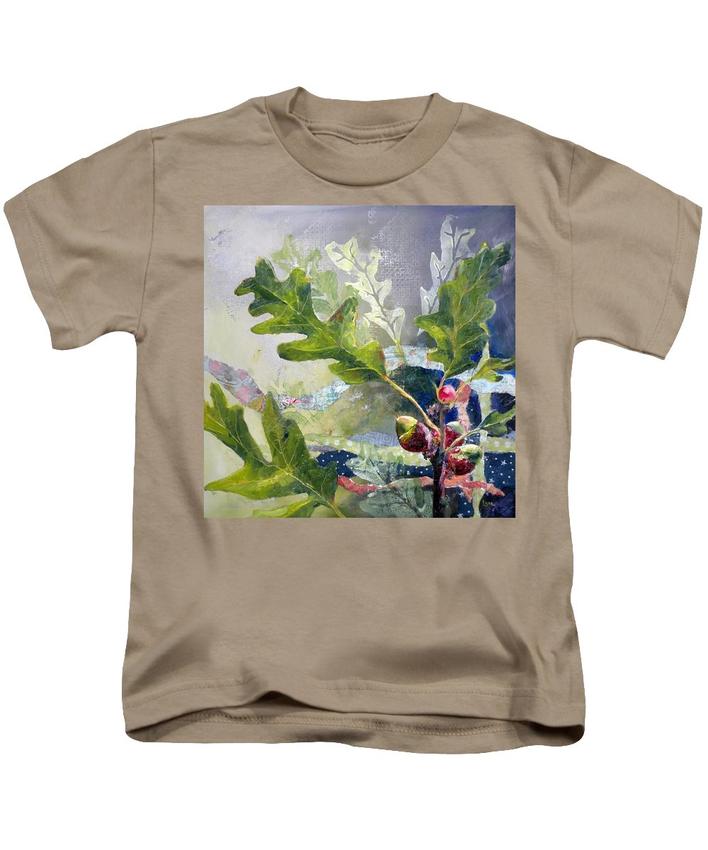 Oak Tree Paintings Kids T-Shirt featuring the painting Acorn Trio by Saundra Lane Galloway