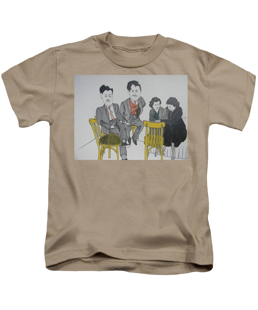 Ego Kids T-Shirt featuring the drawing Big Egos by Marwan George Khoury