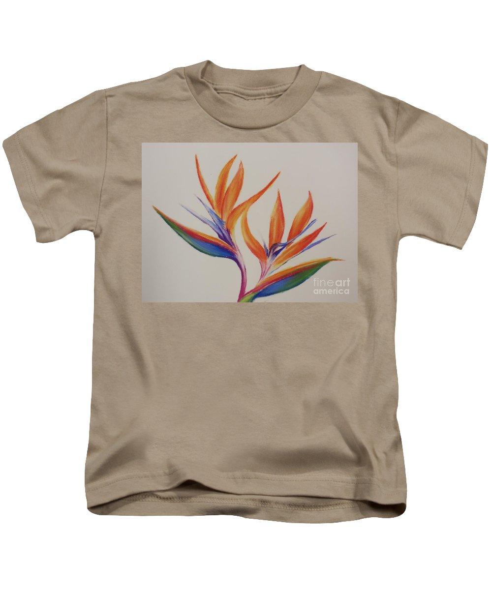 Drawing Kids T-Shirt featuring the painting Birds Of Paradise II by Tatjana Popovska