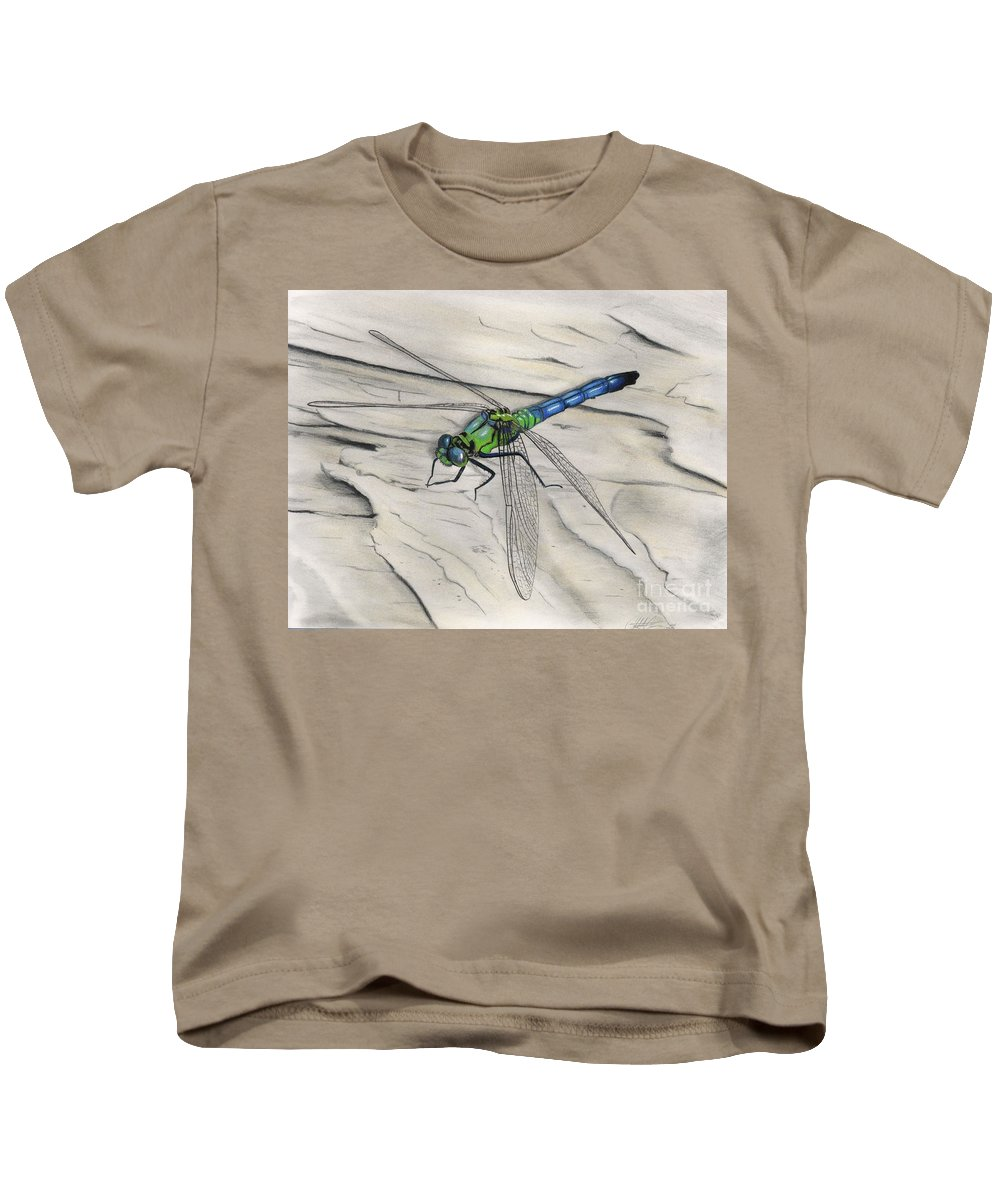 Dragonfly Kids T-Shirt featuring the drawing Blue-green Dragonfly by Christian Conner