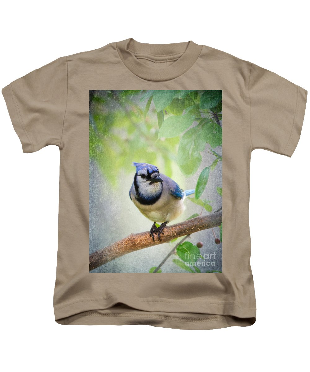 Bluejay Kids T-Shirt featuring the photograph Bluejay In A Tree by Betty LaRue