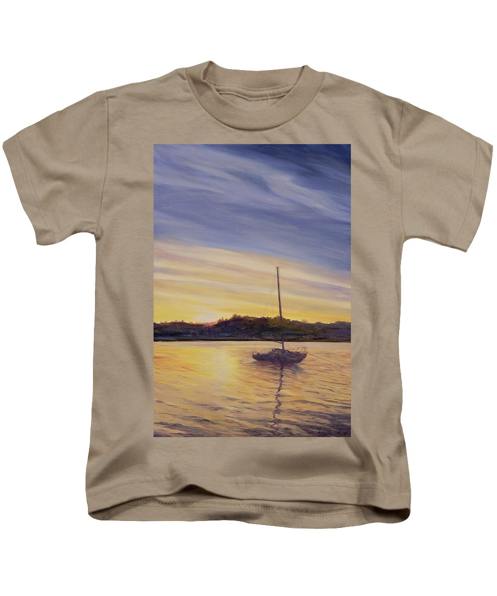 Moored; Anchored; Sailing; Mast; Evening; Sunset; Dusk; Reflection; Sea; Water; Atmospheric; Glow; Night; Shape; Landscape; Nocturne; Mast Kids T-Shirt featuring the painting Boat At Rest by Antonia Myatt