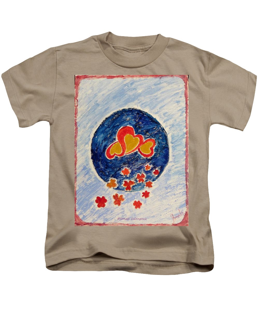 Gold Magnanimous Hearts Reflecting Love Kids T-Shirt featuring the painting Bonding by Sonali Gangane