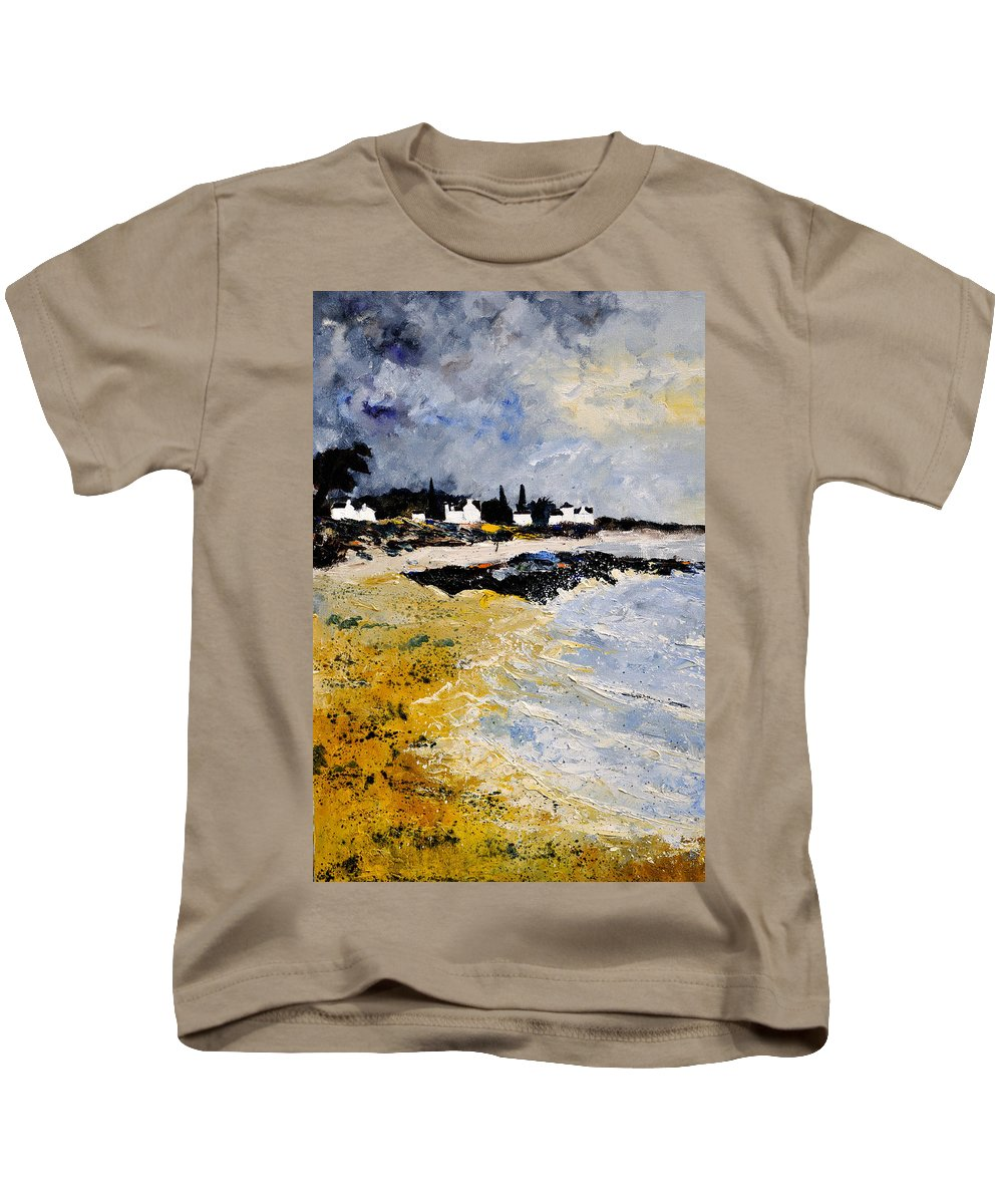 Sescape Kids T-Shirt featuring the painting Bretagne Sascape by Pol Ledent