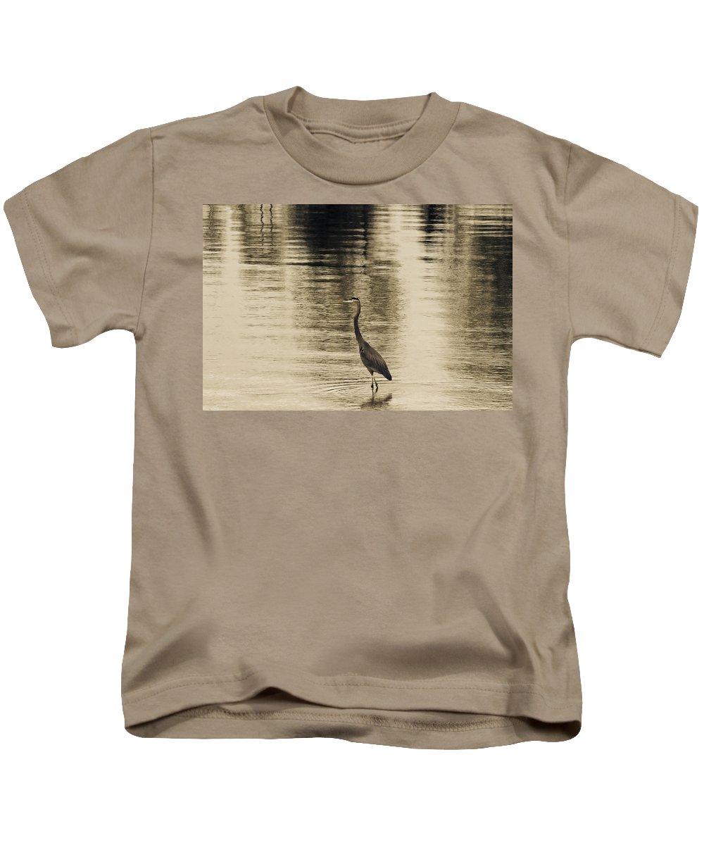 Blue Heron Kids T-Shirt featuring the photograph Bronze Lake by Douglas Barnard