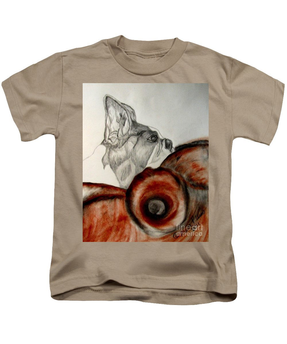 Boston Terrier Kids T-Shirt featuring the drawing Bundled In Blankets by Maria Urso