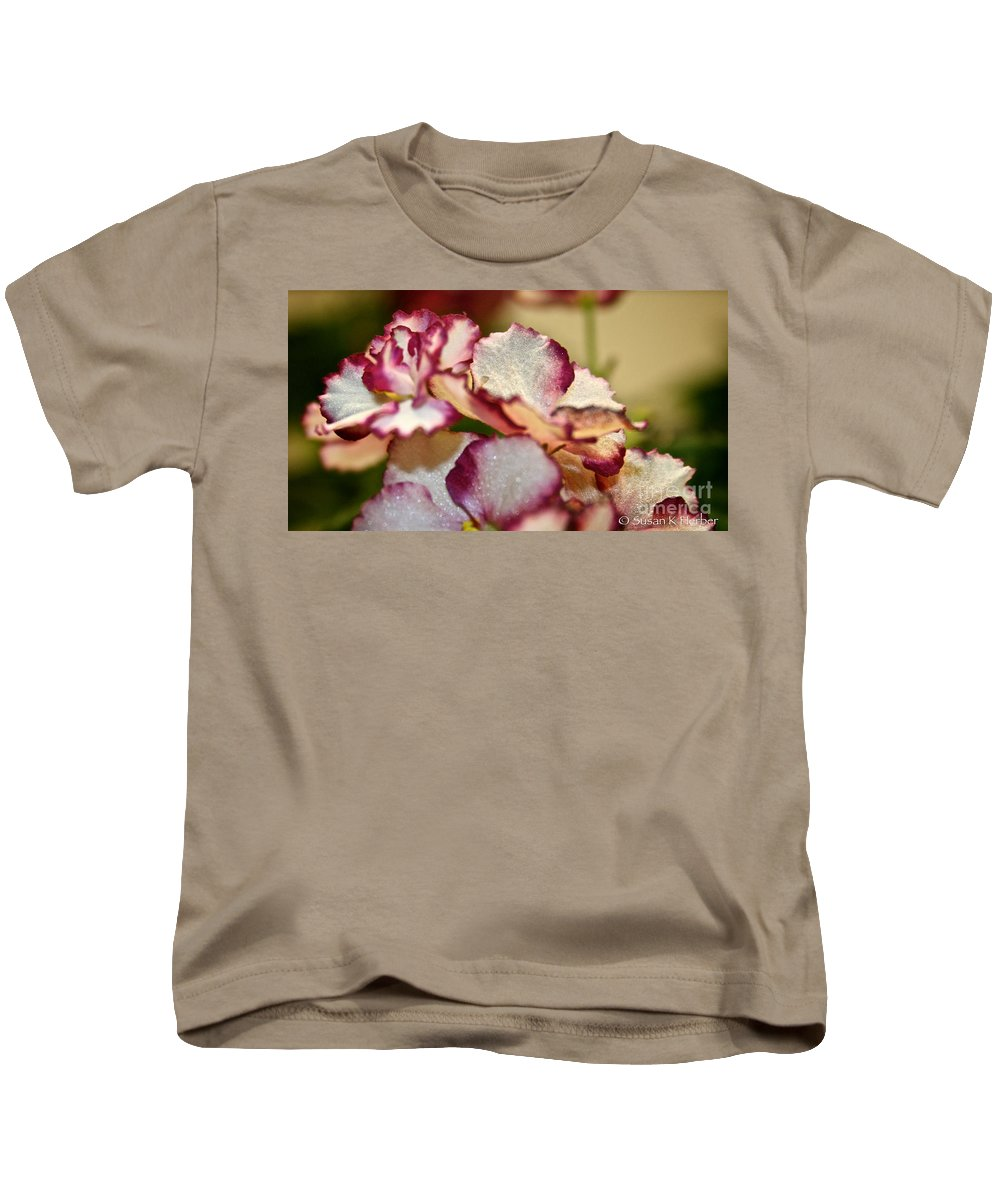 African Violet Kids T-Shirt featuring the photograph Candy Stripes by Susan Herber