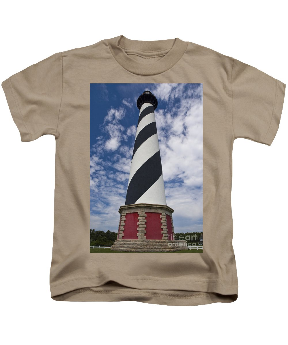 Lighthouse Kids T-Shirt featuring the photograph Cape Hatteras From Below by Tim Mulina