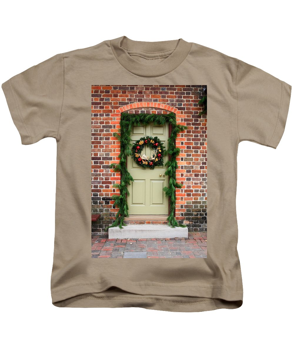 Door Kids T-Shirt featuring the photograph Christmas Door by Sally Weigand
