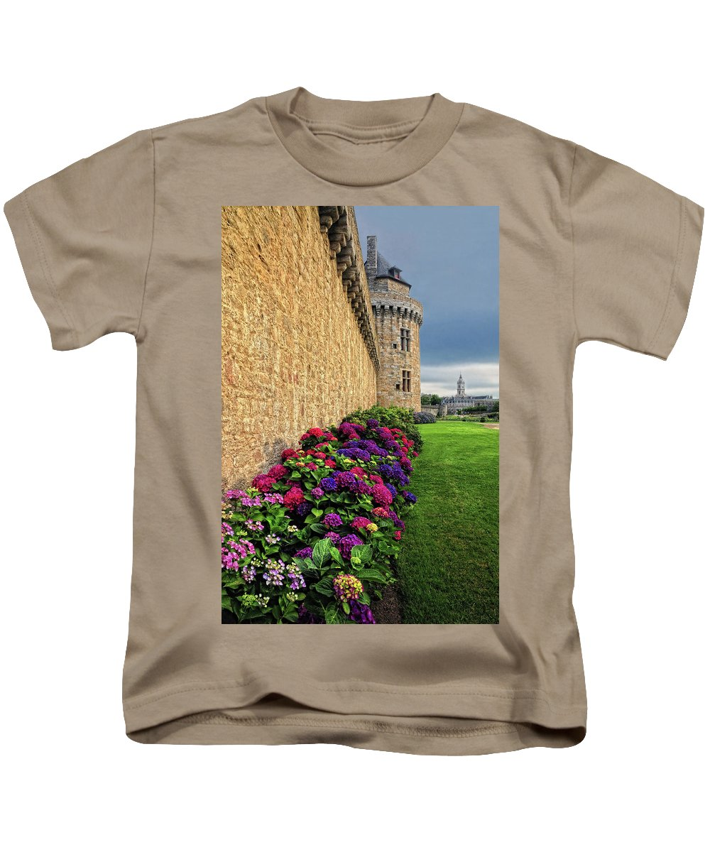 France Kids T-Shirt featuring the photograph City Wall Vannes France by Dave Mills