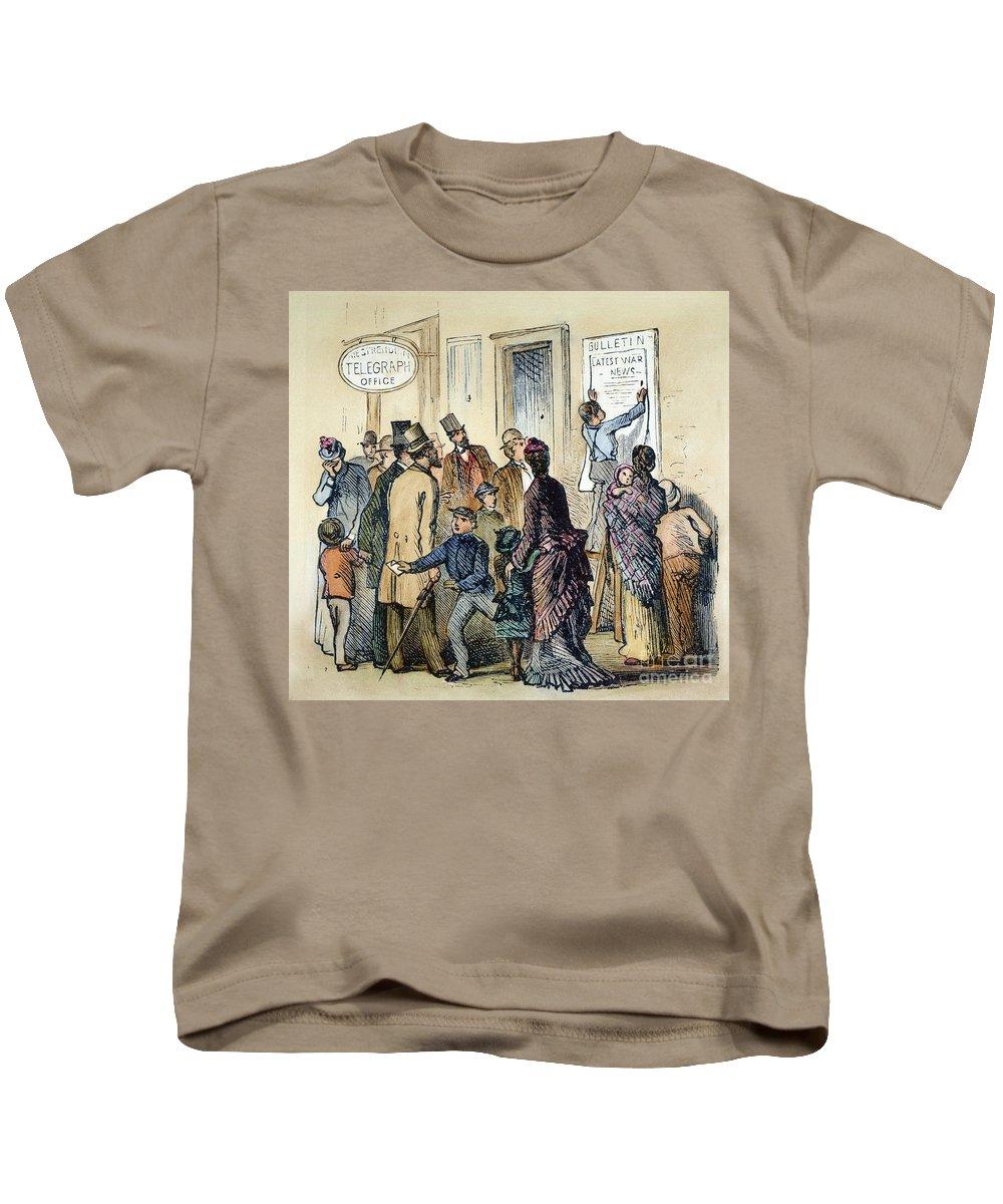 1861 Kids T-Shirt featuring the photograph Civil War Telegraph Office by Granger