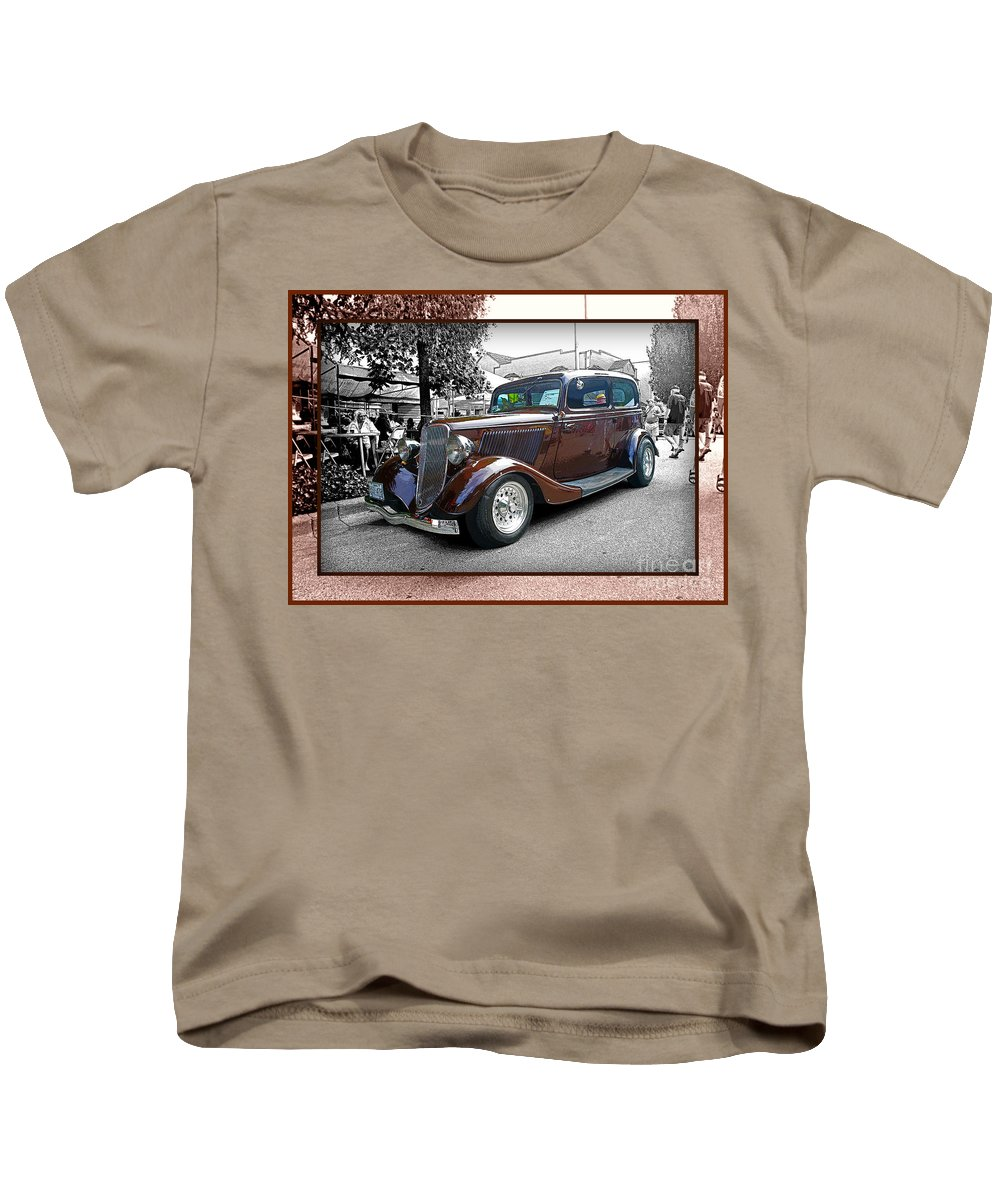 Old Cars Kids T-Shirt featuring the photograph Classy Brown Ford by Randy Harris