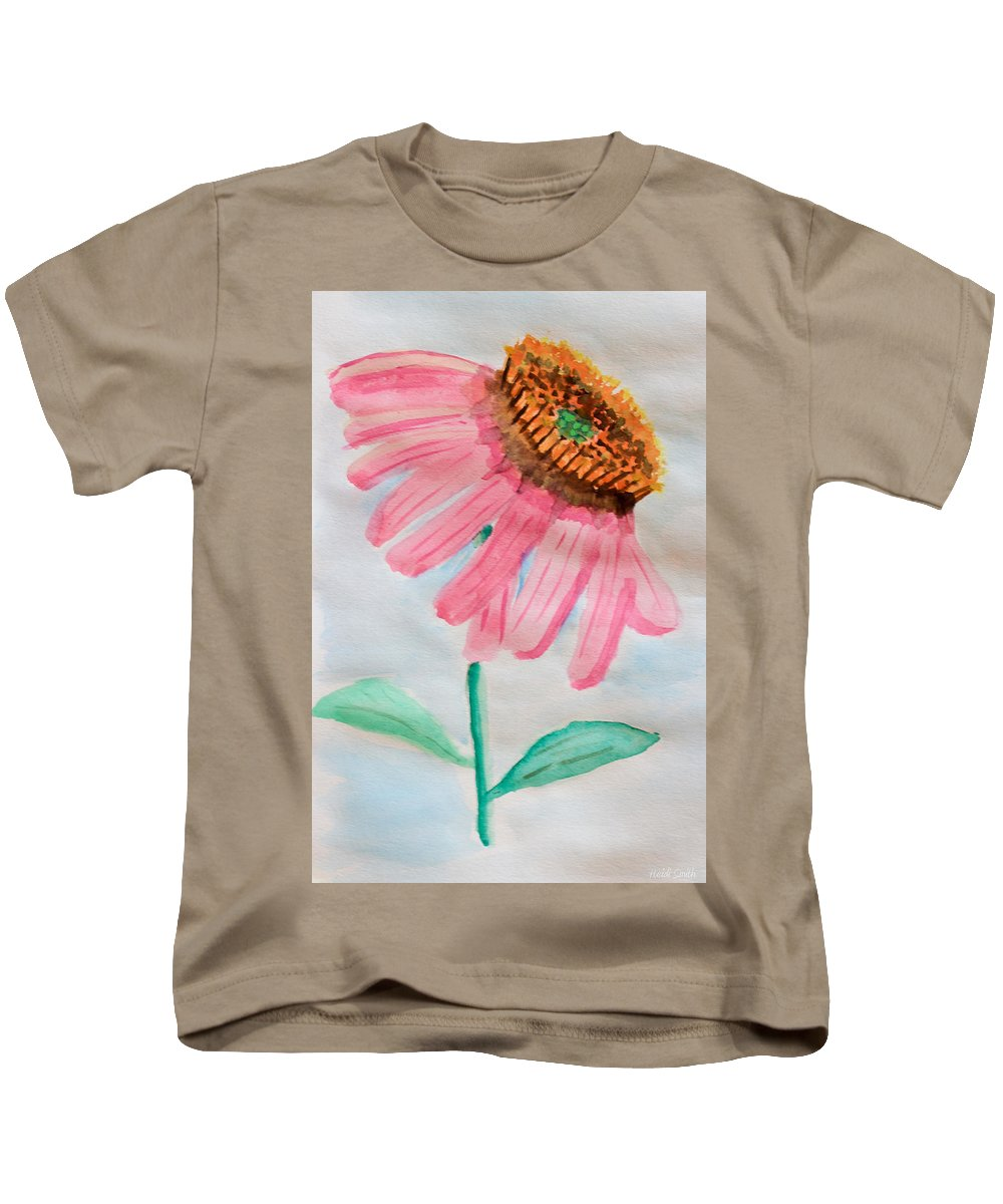 Coneflower Kids T-Shirt featuring the painting Coneflower - Watercolor by Heidi Smith