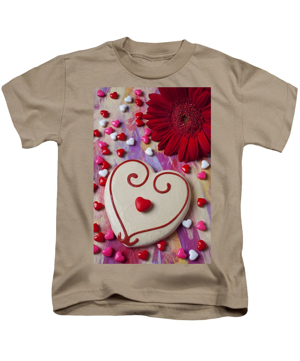 Heart Kids T-Shirt featuring the photograph Cookie And Candy Hearts by Garry Gay