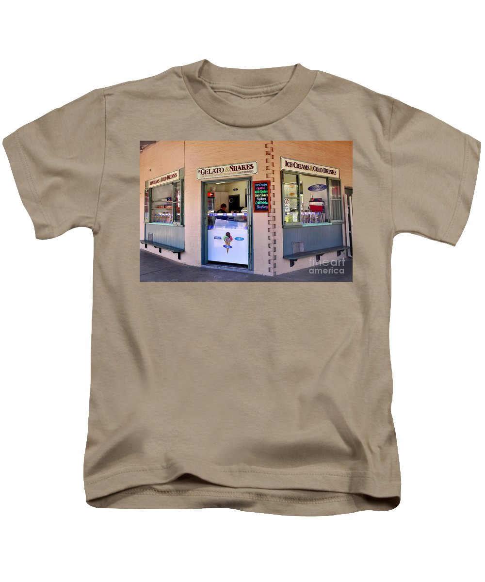Photography Kids T-Shirt featuring the photograph Corner Ice Cream Store by Kaye Menner
