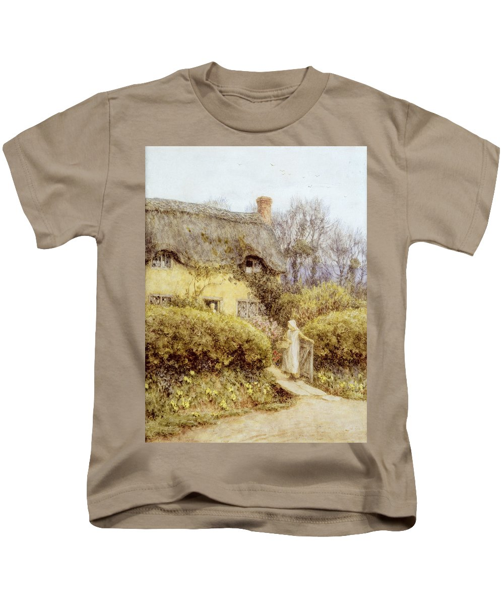 Apron Basket Kids T-Shirt featuring the painting Cottage Near Freshwater by Helen Allingham