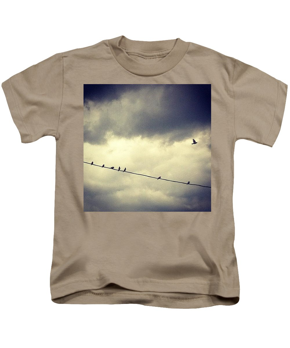 Kids T-Shirt featuring the photograph Da Birds by Katie Cupcakes