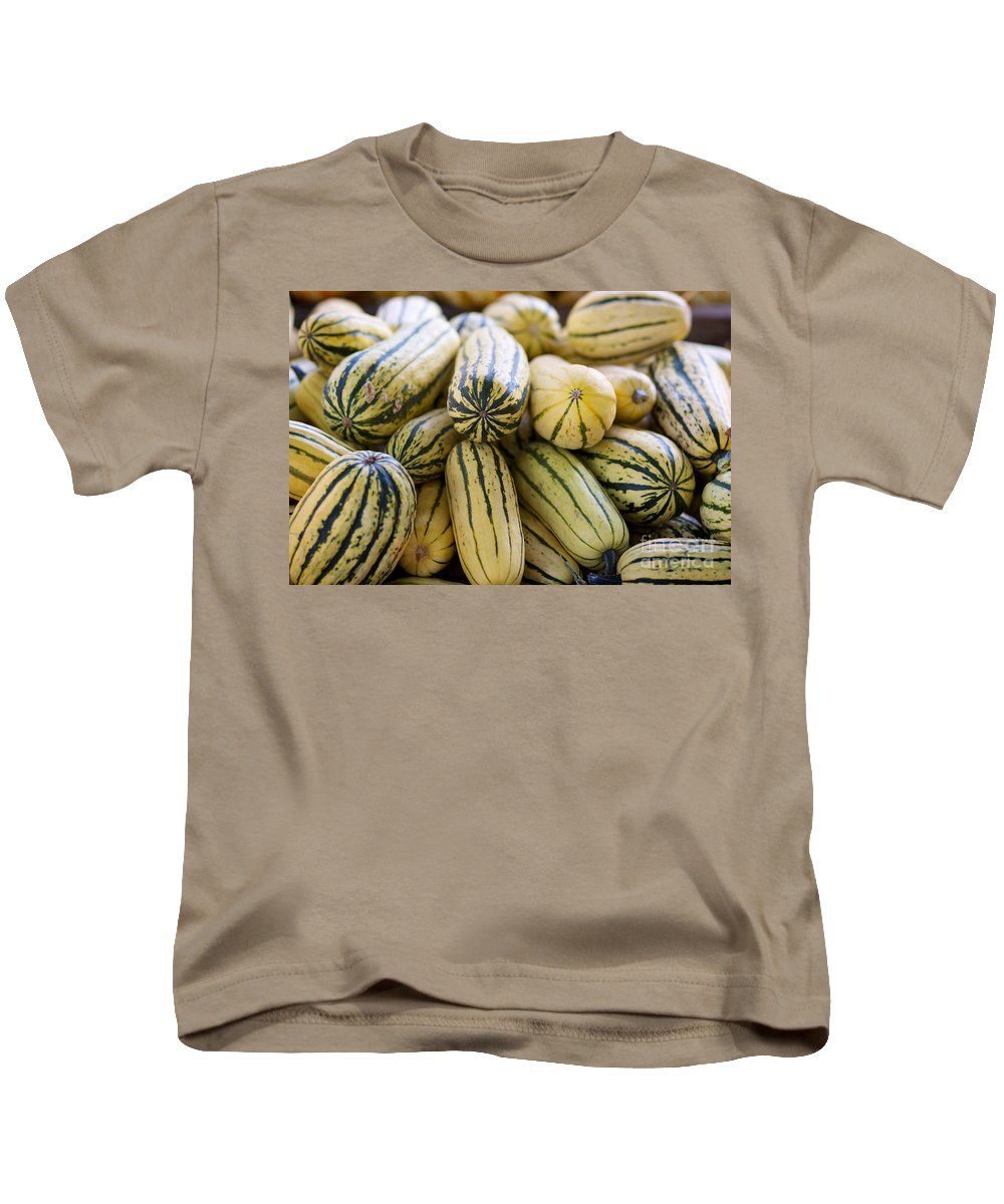 Delicata Kids T-Shirt featuring the photograph Delicata Winter Squash by Brooke Roby