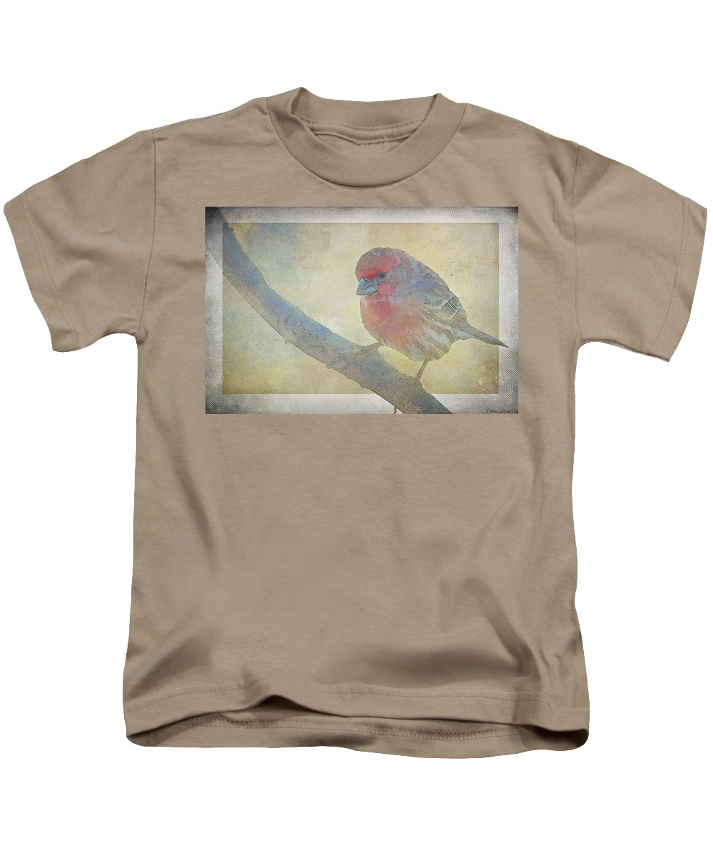 Nature Kids T-Shirt featuring the photograph Digitally Painted Finch With Texture II by Debbie Portwood