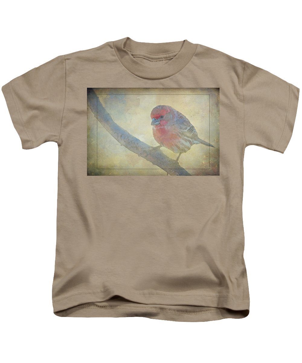 Nature Kids T-Shirt featuring the photograph Digitally Painted Finch With Texture IIi by Debbie Portwood