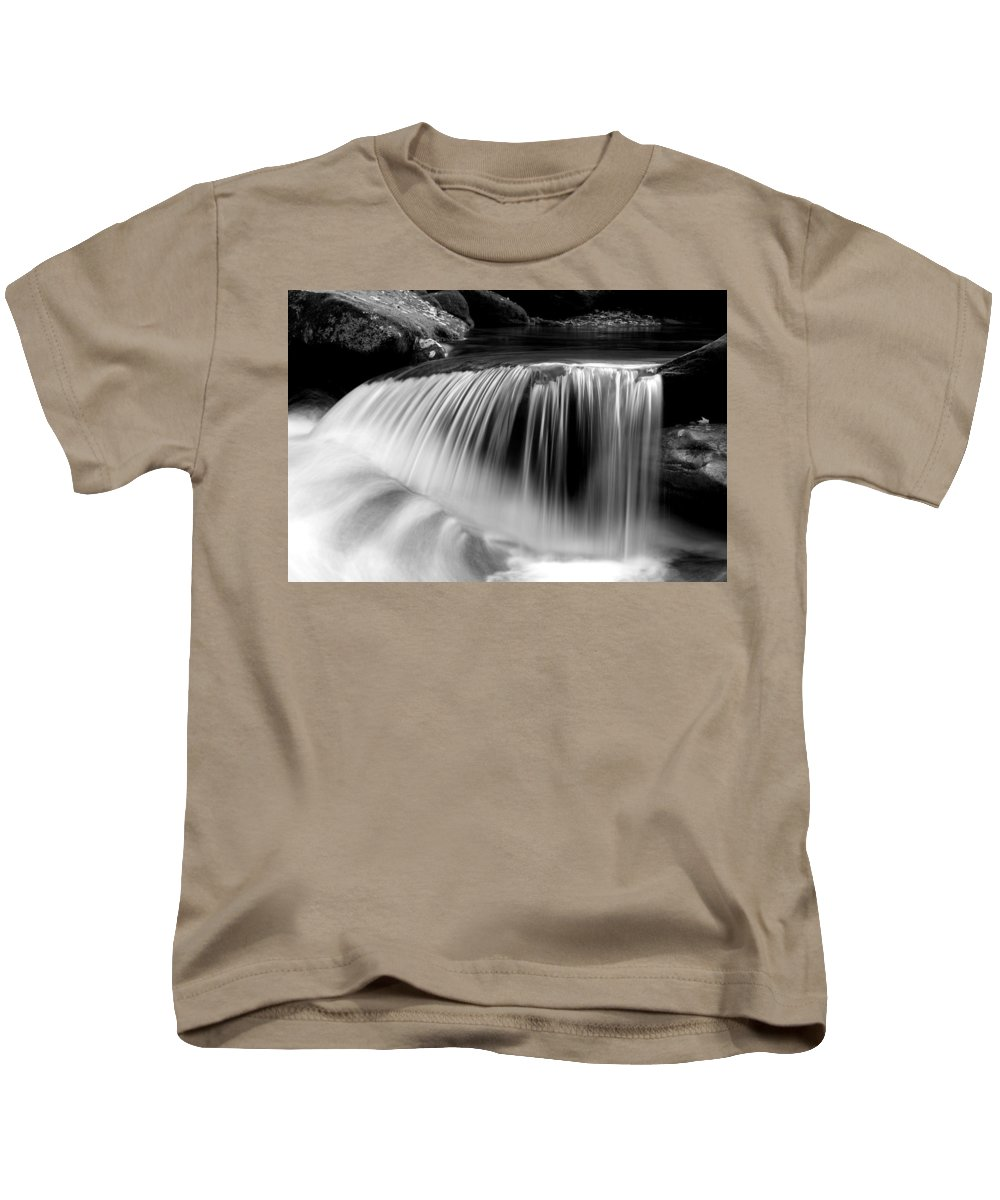 Waterfalls Kids T-Shirt featuring the photograph Falling Water Black And White by Rich Franco