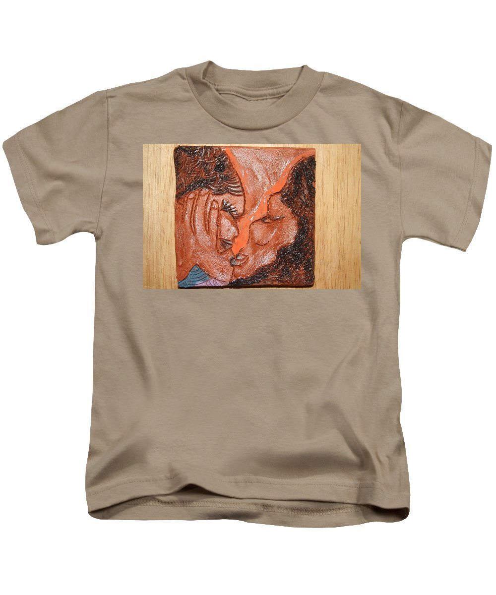 Jesus Kids T-Shirt featuring the ceramic art Family 14 - Tile by Gloria Ssali