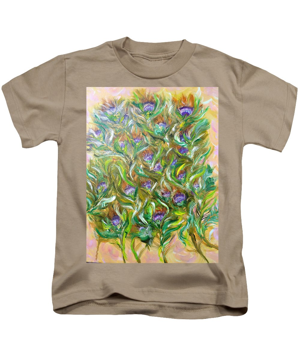 Floral Cluster Kids T-Shirt featuring the painting Feather Luster by Sara Credito