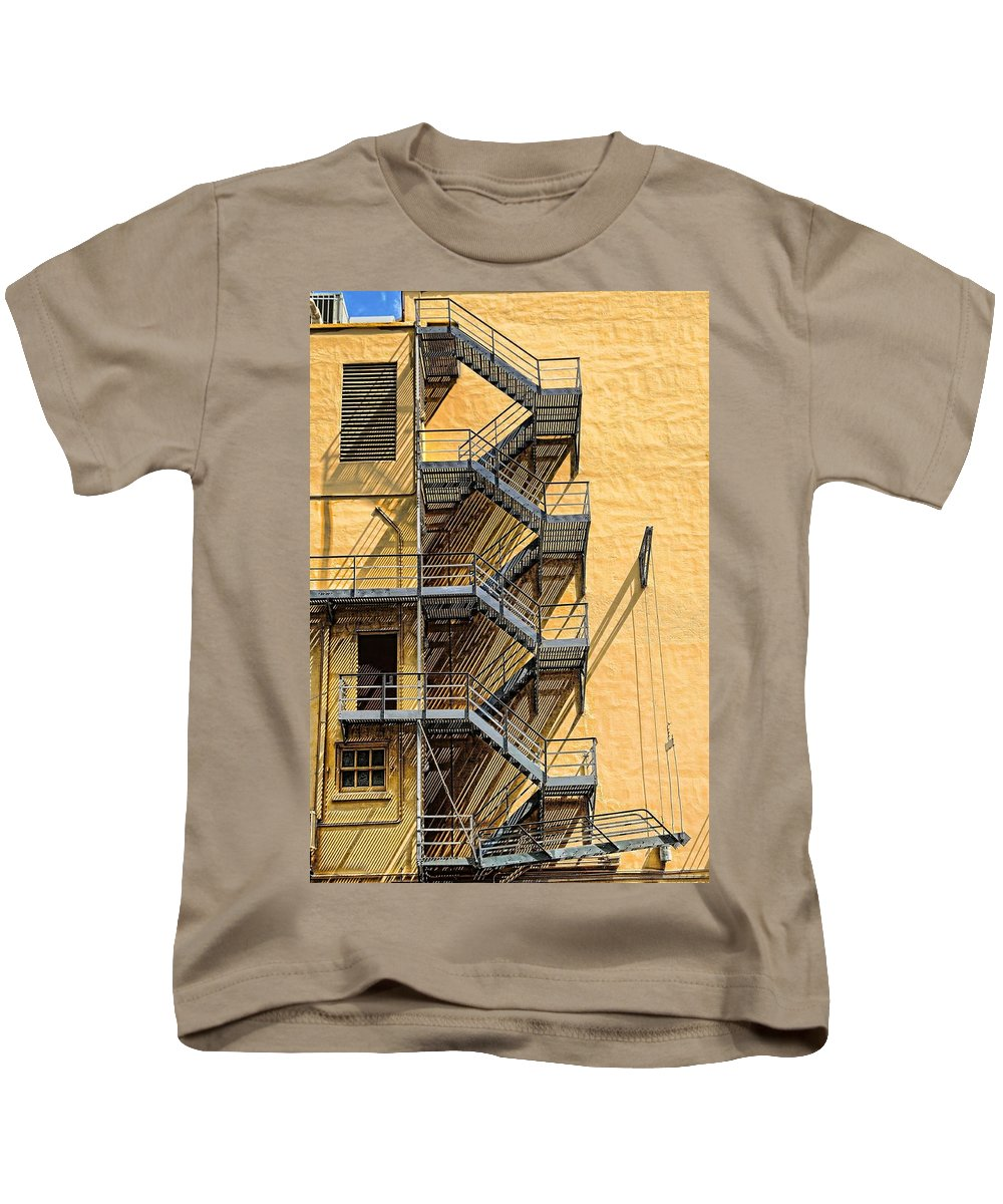 Fire Kids T-Shirt featuring the photograph Fire Escape by Rudy Umans