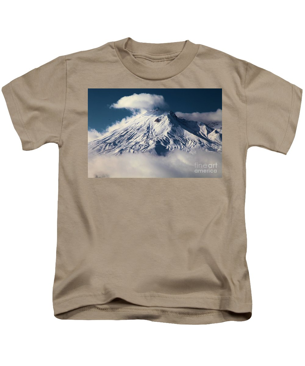 Mt St Helens Kids T-Shirt featuring the photograph First Snow At Mt St Helens by Adam Jewell