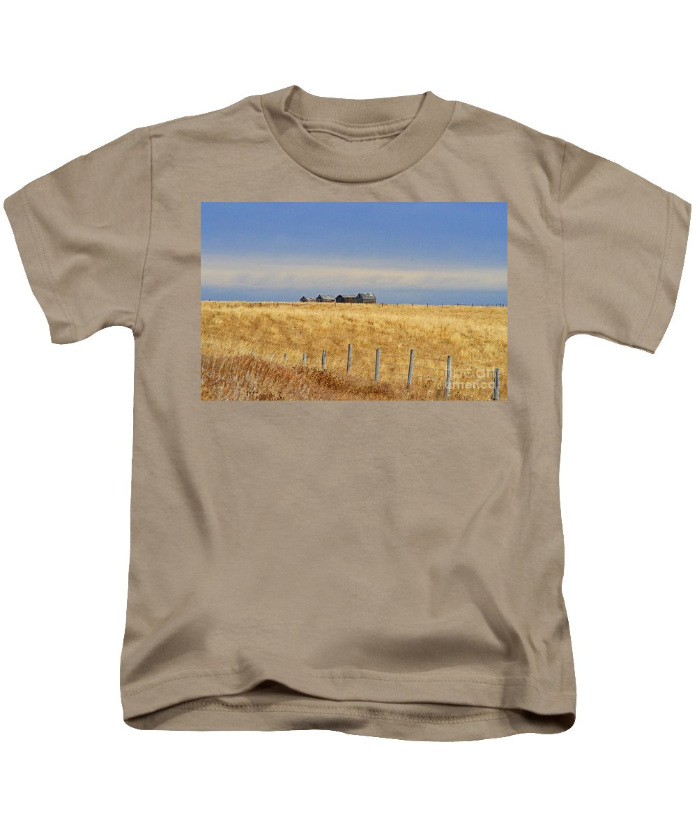 Old Barn Kids T-Shirt featuring the photograph Four Outbuildings In The Field by Randy Harris