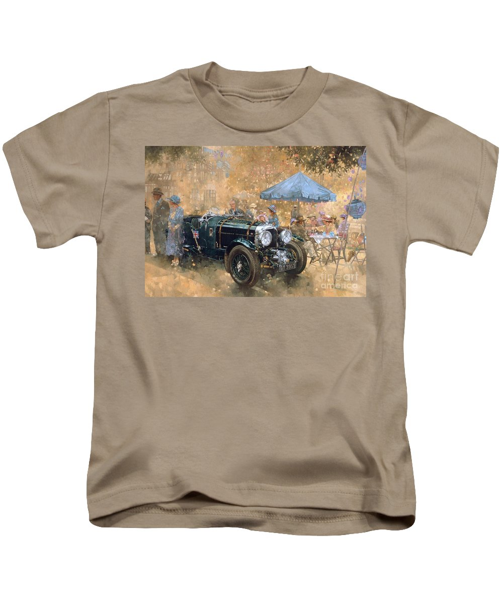 Bentley Kids T-Shirt featuring the painting Garden Party With The Bentley by Peter Miller