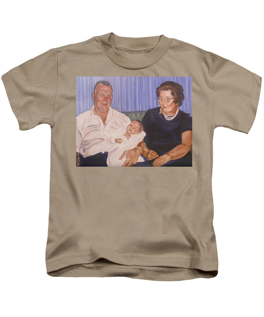 Grandparents Kids T-Shirt featuring the painting Grandpa And Grandma by Bryan Bustard